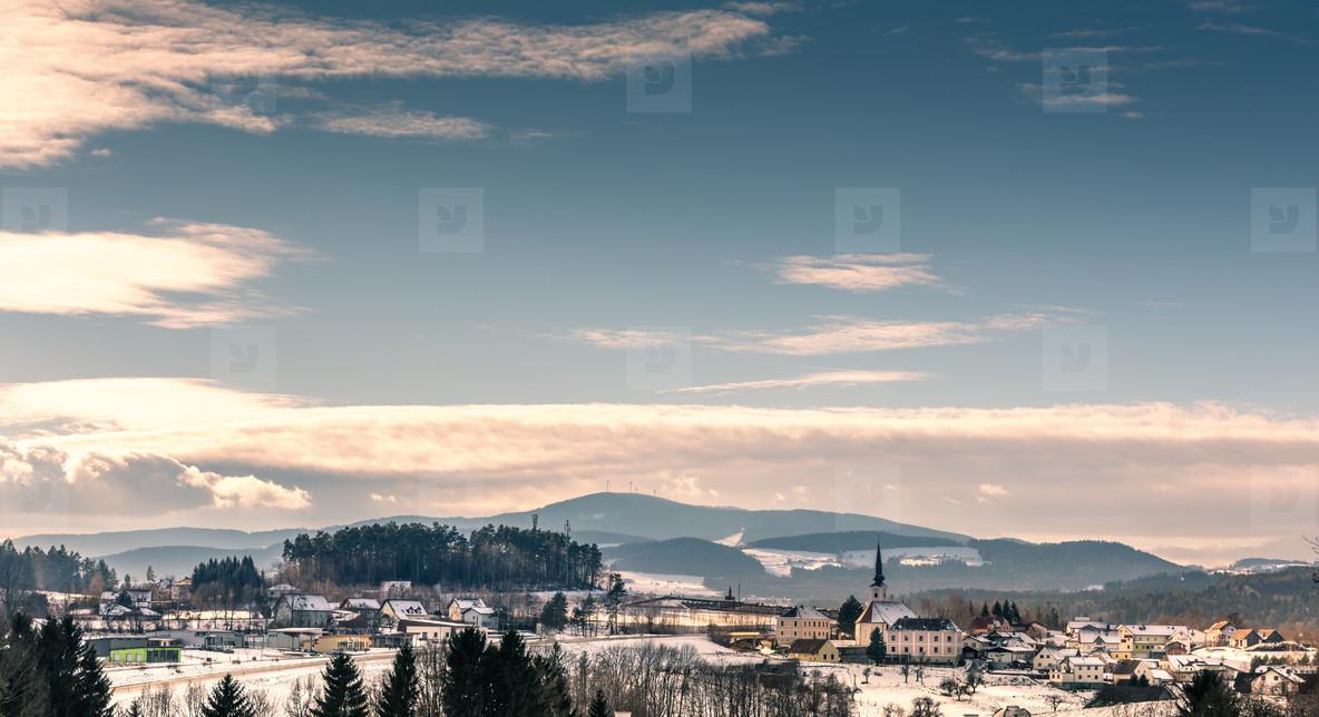 Winter landscape   village