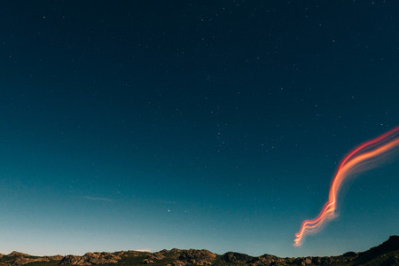 light on the sky at night