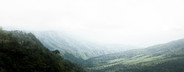View of misty fog mountains
