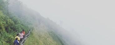 Walking on a bridge on a hill