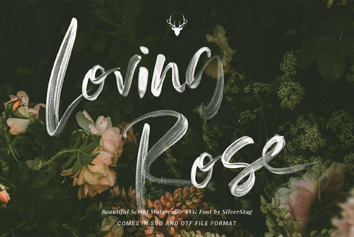 Loving Rose   Watercolor SVG Font