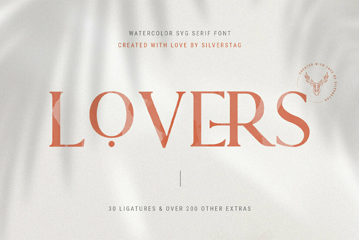 Lovers SVG Serif Font with Extras