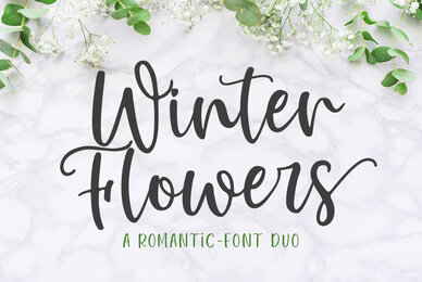 Winter Flowers Font Duo
