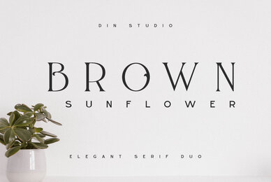 Brown Sunflower Font Duo