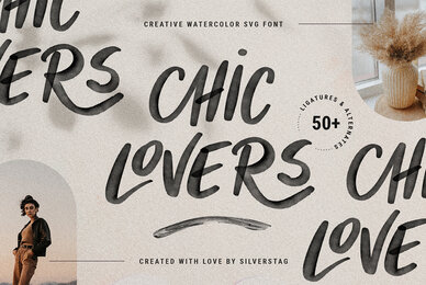CHIC LOVERS   Watercolor SVG Font