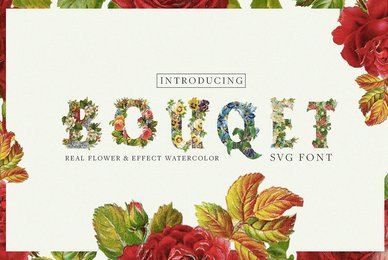 Bouquet Flower  Watercolor SVG Font
