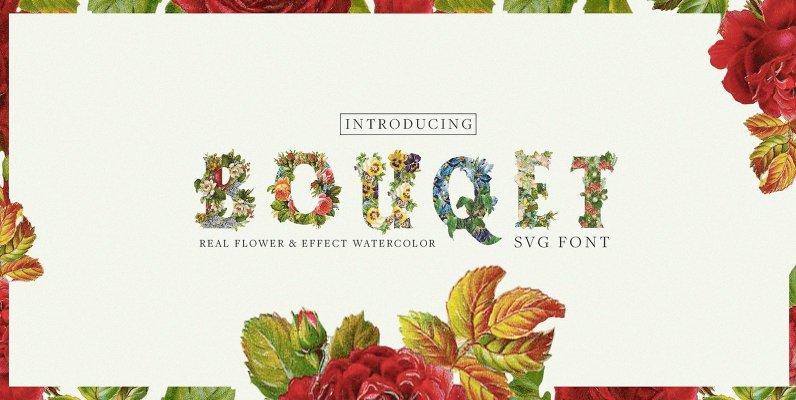 Bouquet Flower   Watercolor  SVG Font