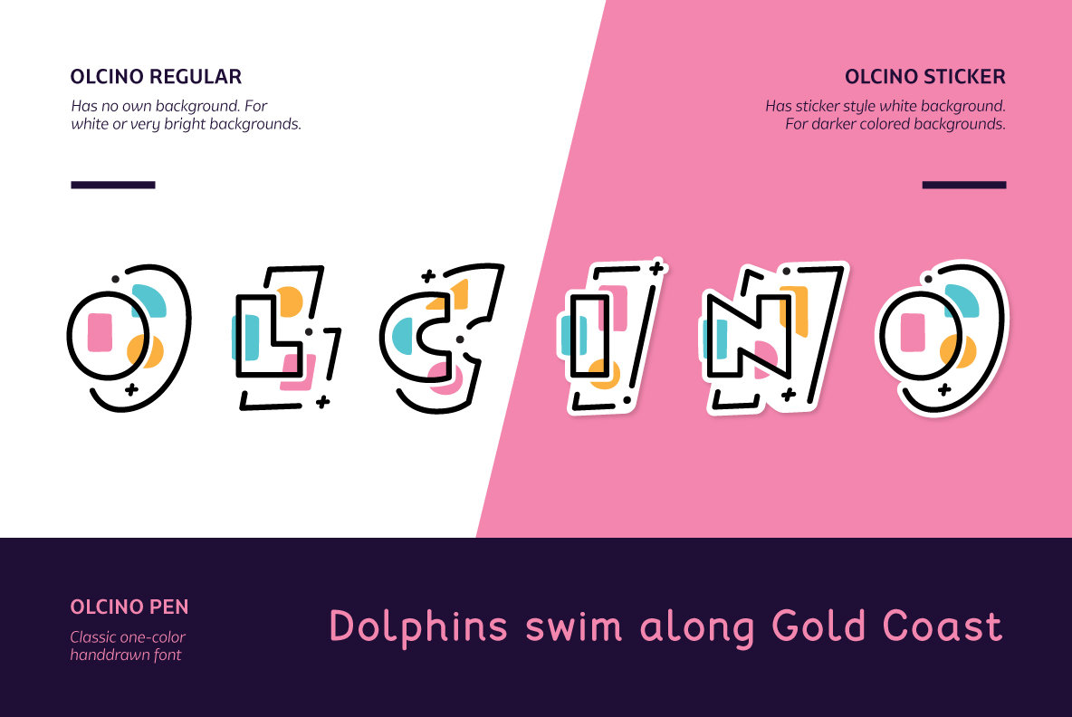 Olcino Multicolor Font Pack