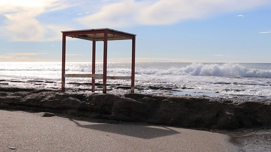 Table on a sea cliff