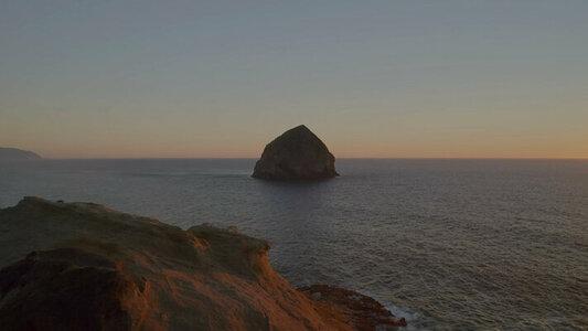 Coastal sunset flight